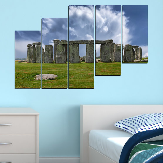 Canvas prints & wall decorative panels - 5 pieces №0719 » Blue, Green, Gray » Sky, Stone, Monument Form #8