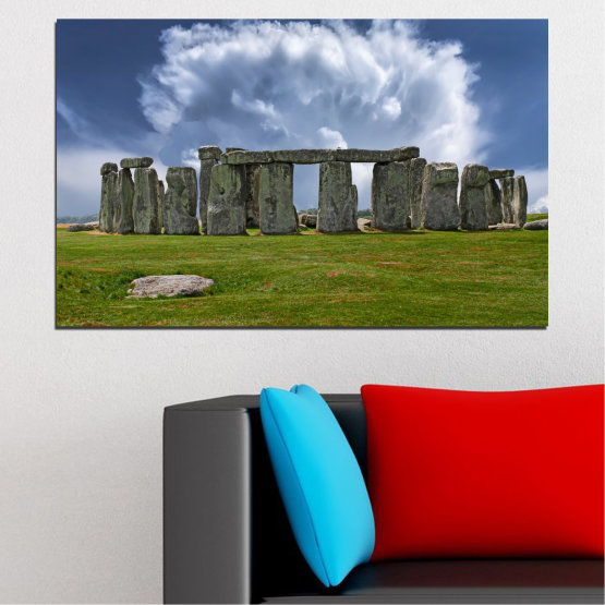 Canvas prints & wall decorative panels - 1 piece №0719 » Blue, Green, Gray » Sky, Stone, Monument Form #1