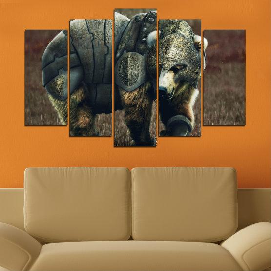 Декоративни панели и картини от канава - от 5 части №0720 » Кафяв, Черен, Сив, Тъмно сив » Животни, Дивата природа, На открито Form #1