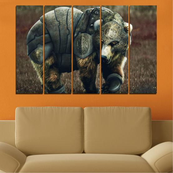 Декоративни панели и картини от канава - от 5 части №0720 » Кафяв, Черен, Сив, Тъмно сив » Животни, Дивата природа, На открито Form #2