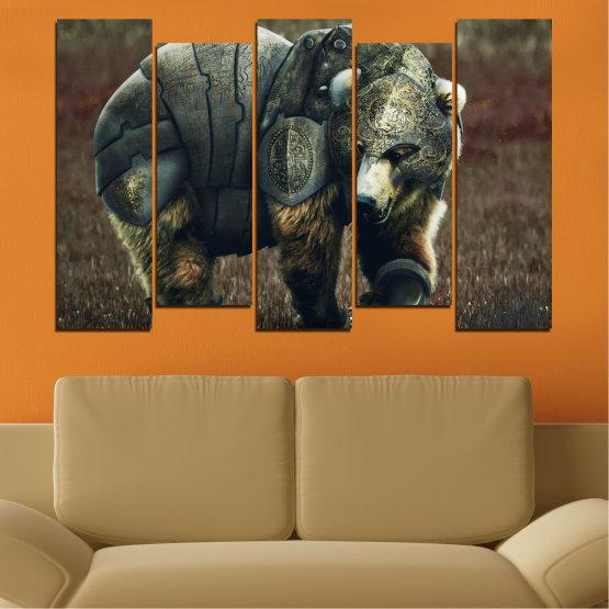 Декоративни панели и картини от канава - от 5 части №0720 » Кафяв, Черен, Сив, Тъмно сив » Животни, Дивата природа, На открито Form #3