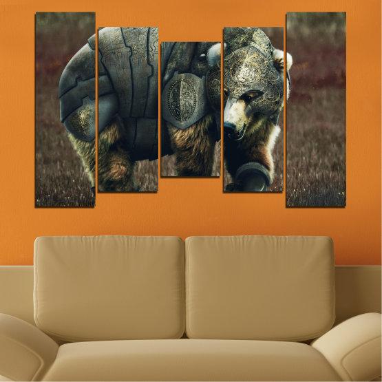 Декоративни панели и картини от канава - от 5 части №0720 » Кафяв, Черен, Сив, Тъмно сив » Животни, Дивата природа, На открито Form #4