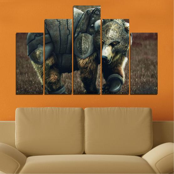 Декоративни панели и картини от канава - от 5 части №0720 » Кафяв, Черен, Сив, Тъмно сив » Животни, Дивата природа, На открито Form #5