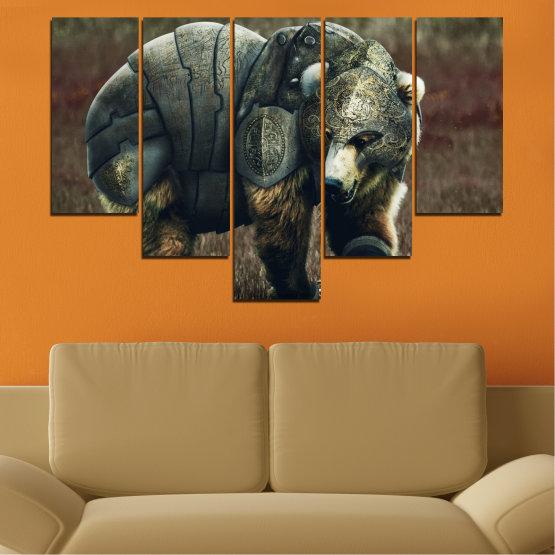 Декоративни панели и картини от канава - от 5 части №0720 » Кафяв, Черен, Сив, Тъмно сив » Животни, Дивата природа, На открито Form #6