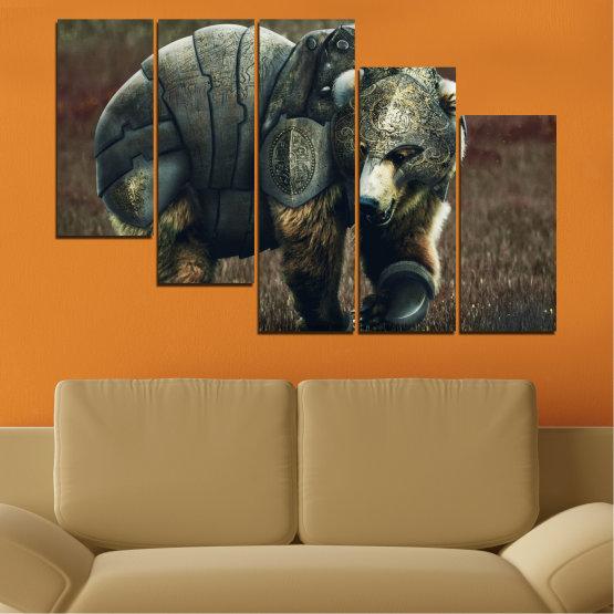 Декоративни панели и картини от канава - от 5 части №0720 » Кафяв, Черен, Сив, Тъмно сив » Животни, Дивата природа, На открито Form #7