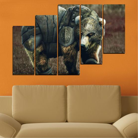Декоративни панели и картини от канава - от 5 части №0720 » Кафяв, Черен, Сив, Тъмно сив » Животни, Дивата природа, На открито Form #8