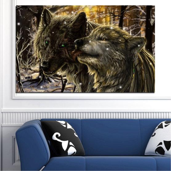 Εκτύπωση σε καμβά και διακοσμητικά πάνελ τοίχου - 1 τεμάχιο №0721 » Καστανός, Μαύρος, Γκρί, Σκούρο γκρι » Δάσος, Σκύλος, Λύκος, Μαύρος Form #1