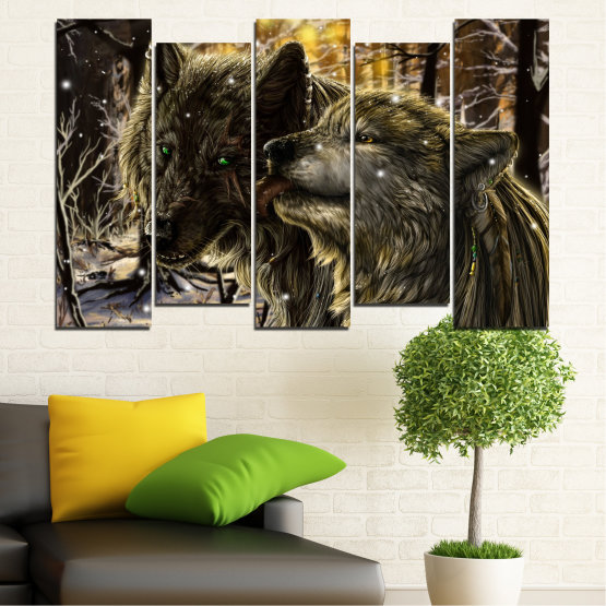 Canvas prints & wall decorative panels - 5 pieces №0721 » Brown, Black, Gray, Dark grey » Forest, Dog, Wolf, Black Form #3
