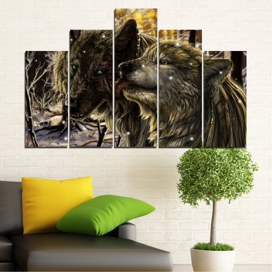 Canvas prints & wall decorative panels - 5 pieces №0721 » Brown, Black, Gray, Dark grey » Forest, Dog, Wolf, Black Form #5