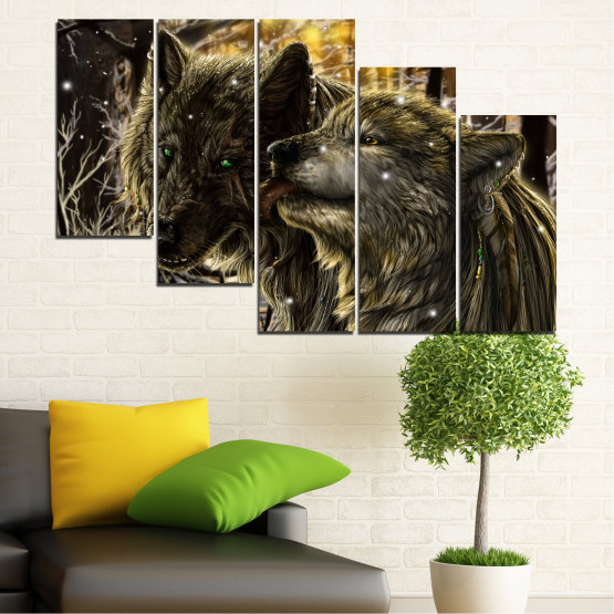 Canvas prints & wall decorative panels - 5 pieces №0721 » Brown, Black, Gray, Dark grey » Forest, Dog, Wolf, Black Form #7