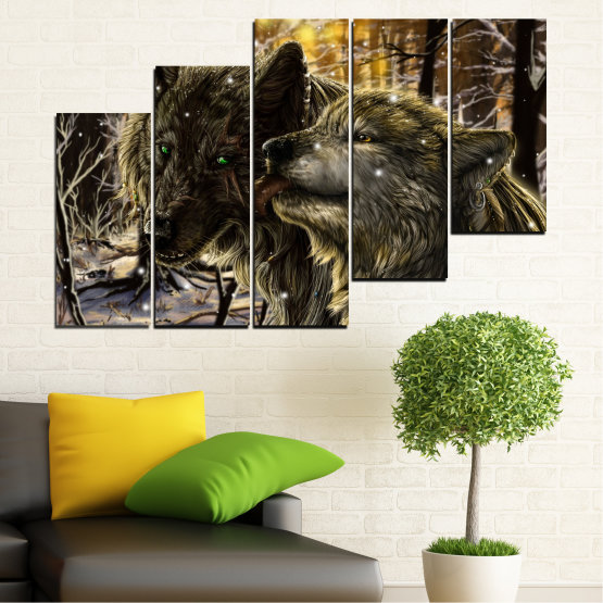 Canvas prints & wall decorative panels - 5 pieces №0721 » Brown, Black, Gray, Dark grey » Forest, Dog, Wolf, Black Form #8