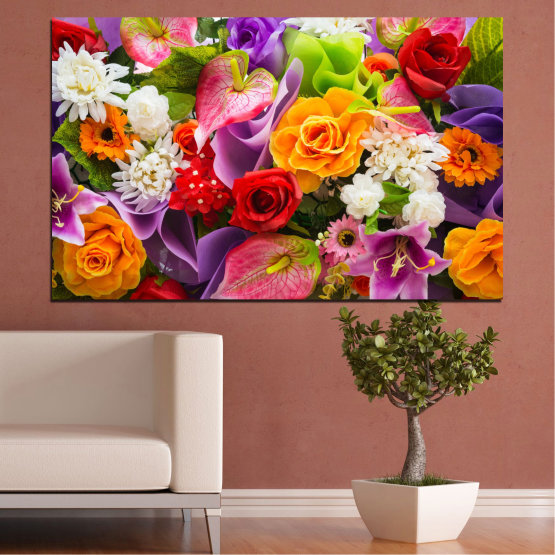 Canvas prints & wall decorative panels - 1 piece №0722 » Pink, Purple, Black, Gray, Dark grey » Flowers, Flower, Flora, Spring, Rose, Summer, Bouquet, Blossom, Pink Form #1