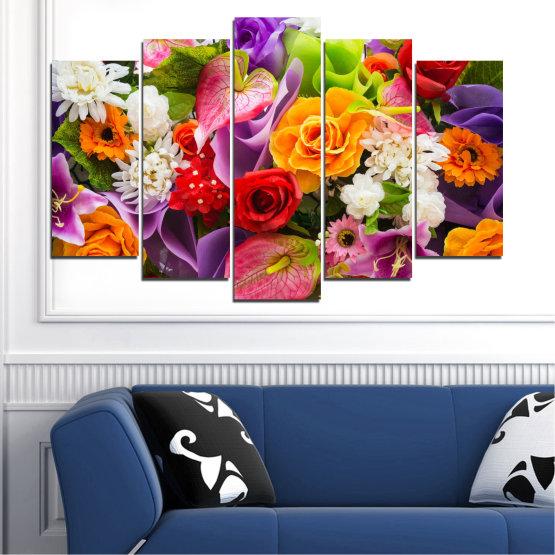 Декоративни панели и картини от канава - от 5 части №0722 » Розов, Лилав, Черен, Сив, Тъмно сив » Цветя, Цвете, Флора, Пролет, Роза, Лято, Букет, Цвят, Розов Form #1