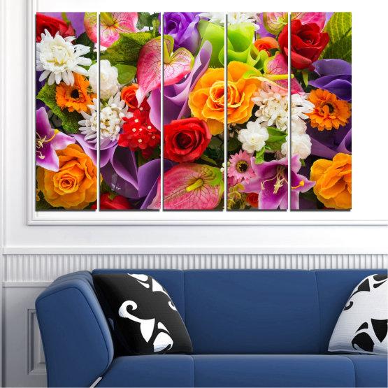 Декоративни панели и картини от канава - от 5 части №0722 » Розов, Лилав, Черен, Сив, Тъмно сив » Цветя, Цвете, Флора, Пролет, Лято, Роза, Букет, Цвят, Розов Form #2
