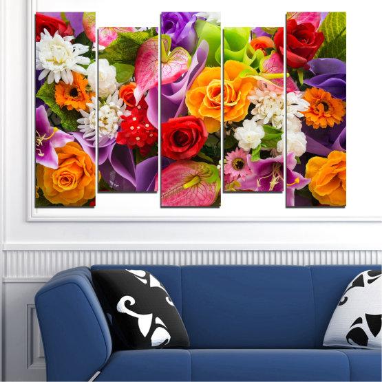 Декоративни панели и картини от канава - от 5 части №0722 » Розов, Лилав, Черен, Сив, Тъмно сив » Цветя, Цвете, Флора, Пролет, Роза, Лято, Букет, Цвят, Розов Form #3