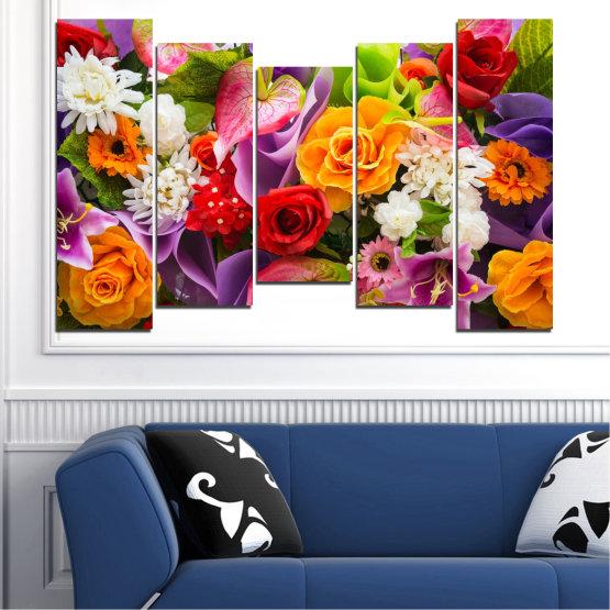 Декоративни панели и картини от канава - от 5 части №0722 » Розов, Лилав, Черен, Сив, Тъмно сив » Цветя, Цвете, Флора, Пролет, Лято, Роза, Букет, Цвят, Розов Form #4