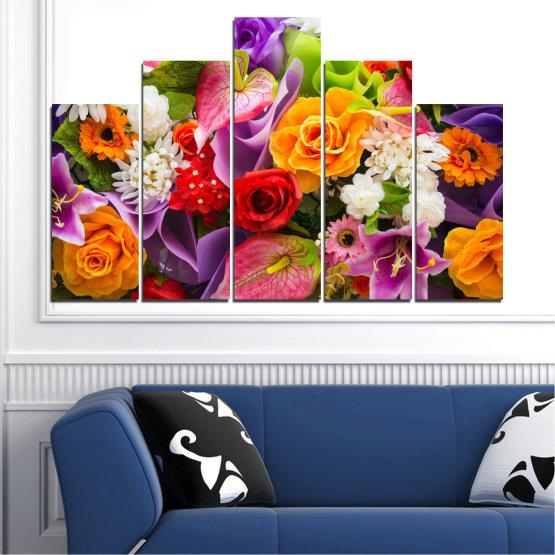 Декоративни панели и картини от канава - от 5 части №0722 » Розов, Лилав, Черен, Сив, Тъмно сив » Цветя, Цвете, Флора, Пролет, Лято, Роза, Букет, Цвят, Розов Form #5