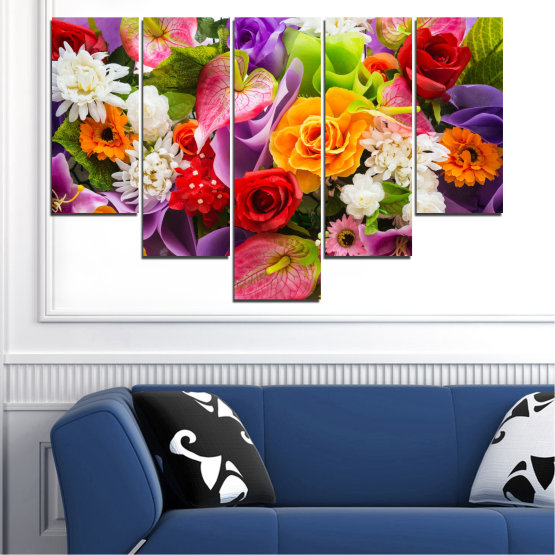 Декоративни панели и картини от канава - от 5 части №0722 » Розов, Лилав, Черен, Сив, Тъмно сив » Цветя, Цвете, Флора, Пролет, Лято, Роза, Букет, Цвят, Розов Form #6