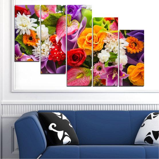 Декоративни панели и картини от канава - от 5 части №0722 » Розов, Лилав, Черен, Сив, Тъмно сив » Цветя, Цвете, Флора, Пролет, Лято, Роза, Букет, Цвят, Розов Form #7