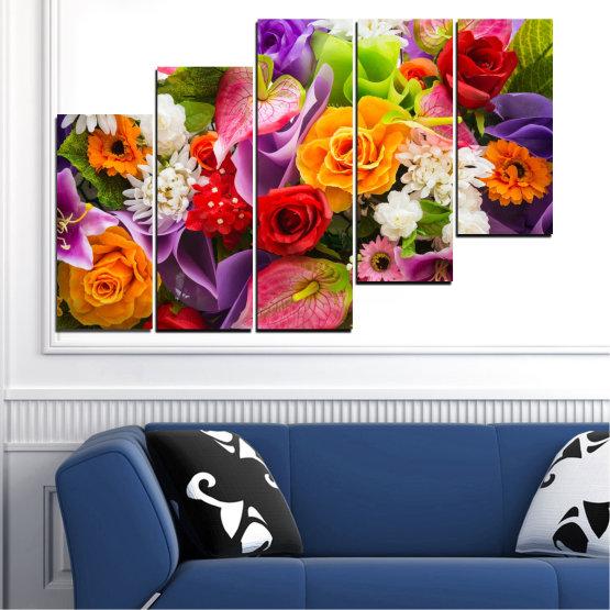 Декоративни панели и картини от канава - от 5 части №0722 » Розов, Лилав, Черен, Сив, Тъмно сив » Цветя, Цвете, Флора, Пролет, Лято, Роза, Букет, Цвят, Розов Form #8