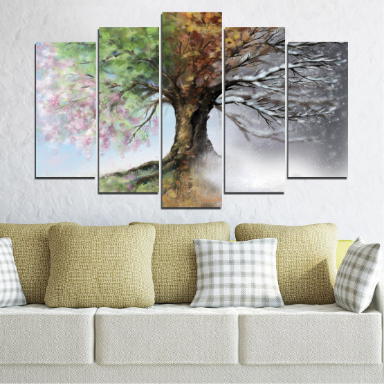 Canvas prints & wall decorative panels - 5 pieces №0723 » Brown, Gray, White, Dark grey » Four seasons, Forest, Tree Form #1