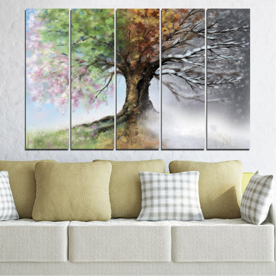 Canvas prints & wall decorative panels - 5 pieces №0723 » Brown, Gray, White, Dark grey » Four seasons, Forest, Tree Form #2