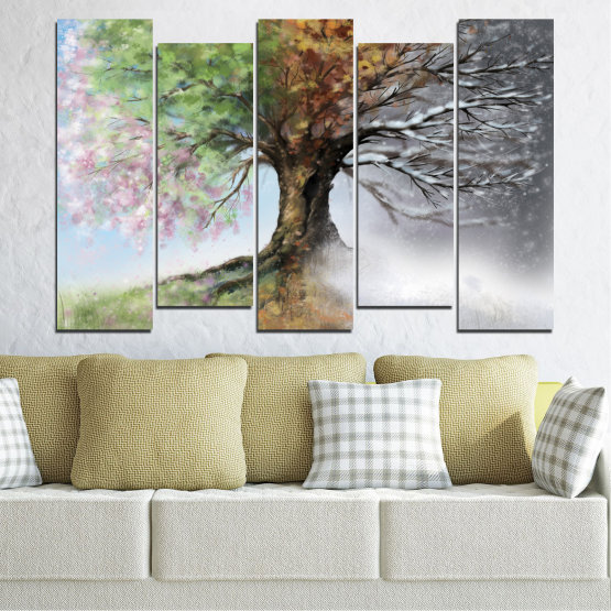 Canvas prints & wall decorative panels - 5 pieces №0723 » Brown, Gray, White, Dark grey » Four seasons, Forest, Tree Form #3
