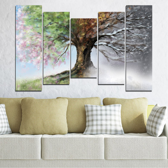 Canvas prints & wall decorative panels - 5 pieces №0723 » Brown, Gray, White, Dark grey » Four seasons, Forest, Tree Form #4