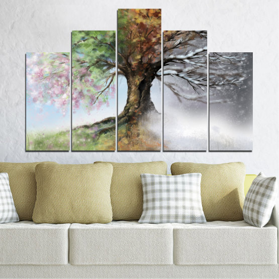 Canvas prints & wall decorative panels - 5 pieces №0723 » Brown, Gray, White, Dark grey » Four seasons, Forest, Tree Form #5