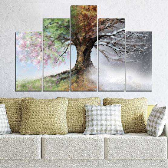 Декоративни панели и картини от канава - от 5 части №0723 » Кафяв, Сив, Бял, Тъмно сив » Четири сезона, Гора, Дърво Form #5