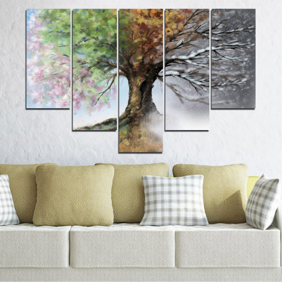 Canvas prints & wall decorative panels - 5 pieces №0723 » Brown, Gray, White, Dark grey » Four seasons, Forest, Tree Form #6