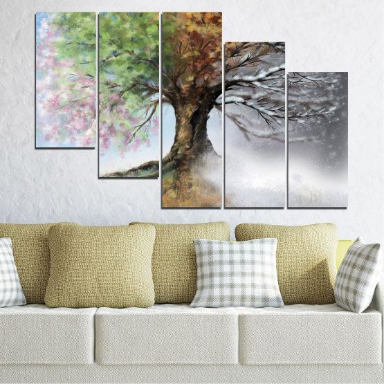 Canvas prints & wall decorative panels - 5 pieces №0723 » Brown, Gray, White, Dark grey » Four seasons, Forest, Tree Form #7