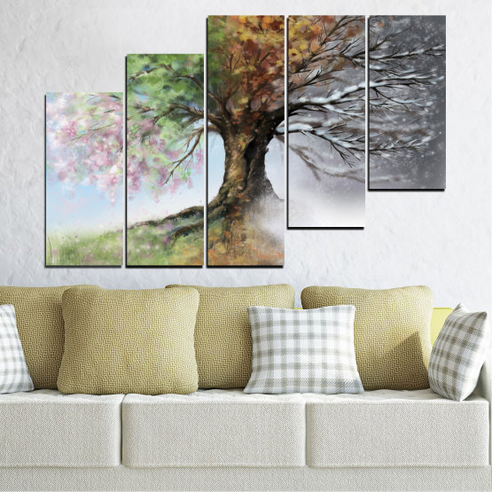 Canvas prints & wall decorative panels - 5 pieces №0723 » Brown, Gray, White, Dark grey » Four seasons, Forest, Tree Form #8