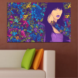 Flowers, Drawing, Art, Modern, Graphic, Color, Design » Purple, Blue, Brown, Beige, Dark grey
