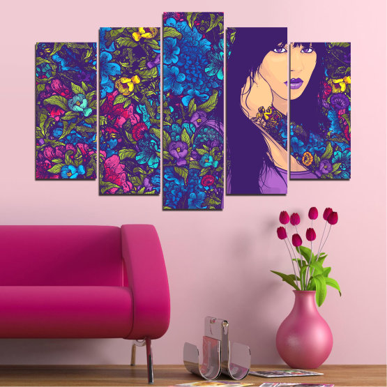 Canvas prints & wall decorative panels - 5 pieces №0724 » Purple, Blue, Brown, Beige, Dark grey » Flowers, Drawing, Art, Modern, Graphic, Color, Design Form #1