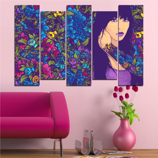 Canvas prints & wall decorative panels - 5 pieces №0724 » Purple, Blue, Brown, Beige, Dark grey » Flowers, Drawing, Art, Modern, Graphic, Color, Design Form #3