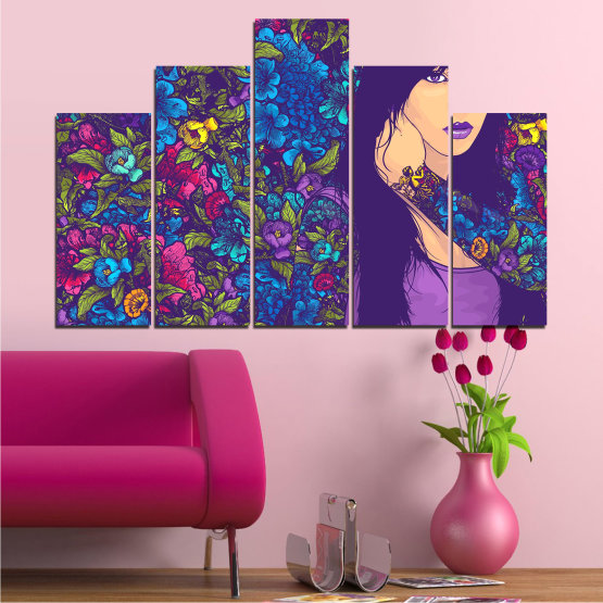 Canvas prints & wall decorative panels - 5 pieces №0724 » Purple, Blue, Brown, Beige, Dark grey » Flowers, Drawing, Art, Modern, Graphic, Color, Design Form #5