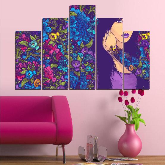Декоративни панели и картини от канава - от 5 части №0724 » Лилав, Син, Кафяв, Бежов, Тъмно сив » Цветя, Рисунка, Изкуство, Модерен, Графичен, Цвят, Дизайн Form #5