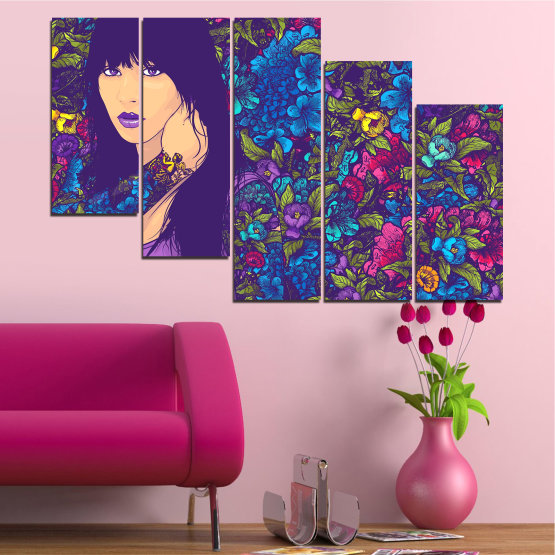 Canvas prints & wall decorative panels - 5 pieces №0724 » Purple, Blue, Brown, Beige, Dark grey » Flowers, Drawing, Art, Modern, Graphic, Color, Design Form #7