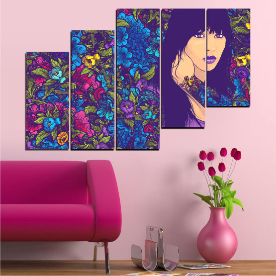 Canvas prints & wall decorative panels - 5 pieces №0724 » Purple, Blue, Brown, Beige, Dark grey » Flowers, Drawing, Art, Modern, Graphic, Color, Design Form #8
