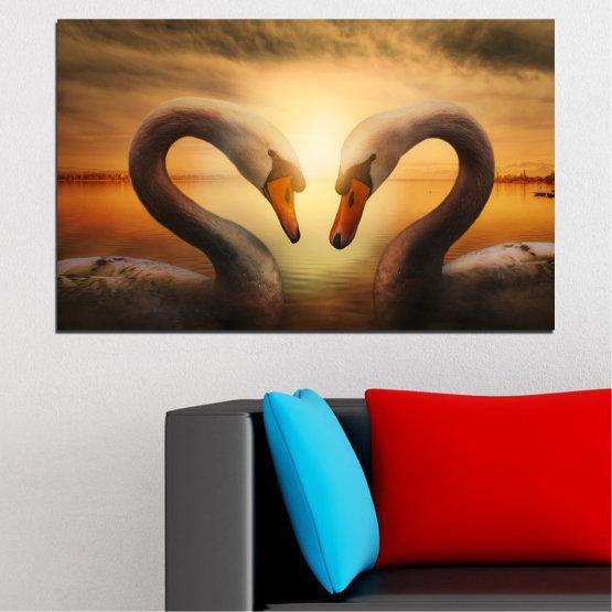 Canvas prints & wall decorative panels - 1 piece №0725 » Orange, Brown, Black, Beige » Sea, Sunset, Swan Form #1