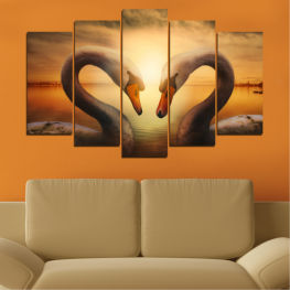 Sea, Sunset, Swan » Orange, Brown, Black, Beige