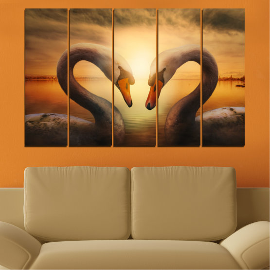 Canvas prints & wall decorative panels - 5 pieces №0725 » Orange, Brown, Black, Beige » Sea, Sunset, Swan Form #2