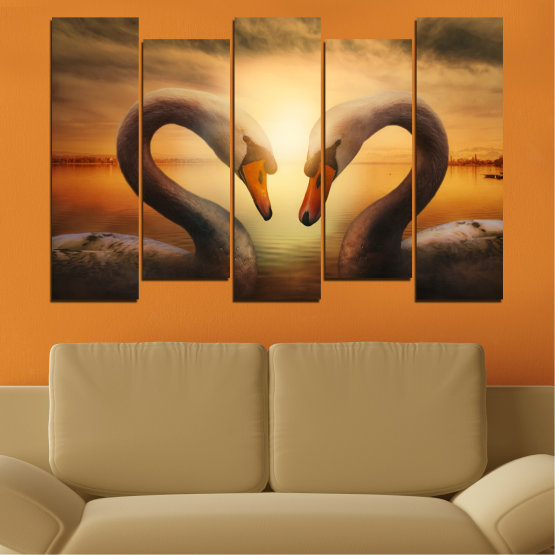Canvas prints & wall decorative panels - 5 pieces №0725 » Orange, Brown, Black, Beige » Sea, Sunset, Swan Form #3
