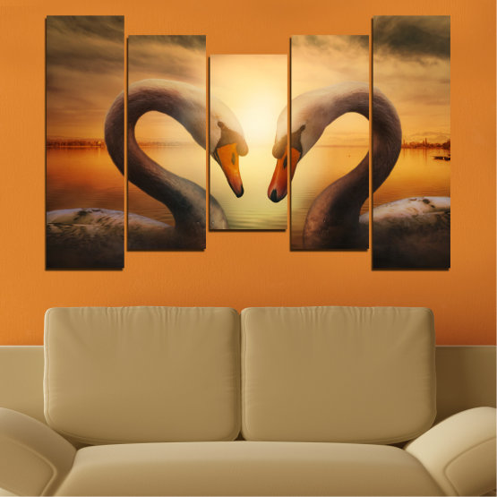 Canvas prints & wall decorative panels - 5 pieces №0725 » Orange, Brown, Black, Beige » Sea, Sunset, Swan Form #4