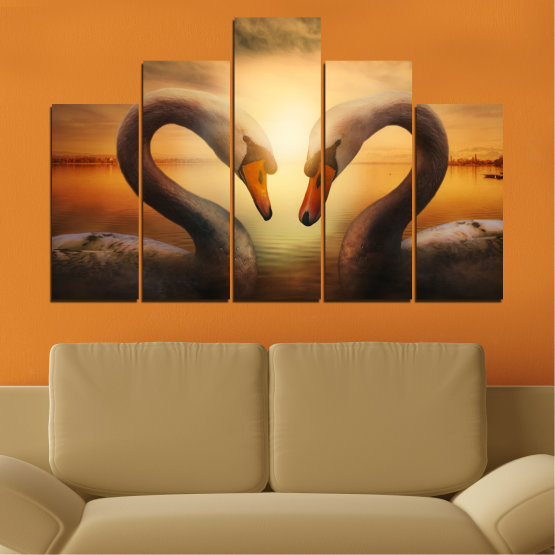 Canvas prints & wall decorative panels - 5 pieces №0725 » Orange, Brown, Black, Beige » Sea, Sunset, Swan Form #5