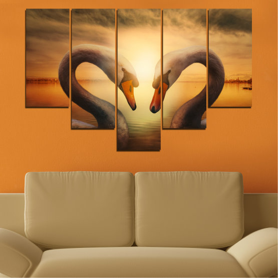 Canvas prints & wall decorative panels - 5 pieces №0725 » Orange, Brown, Black, Beige » Sea, Sunset, Swan Form #6