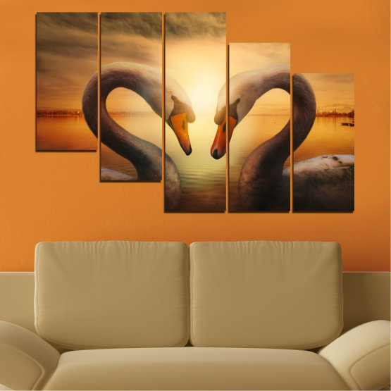 Canvas prints & wall decorative panels - 5 pieces №0725 » Orange, Brown, Black, Beige » Sea, Sunset, Swan Form #7