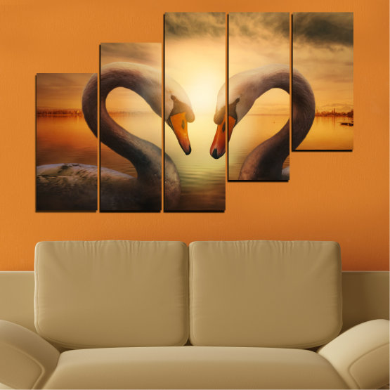 Canvas prints & wall decorative panels - 5 pieces №0725 » Orange, Brown, Black, Beige » Sea, Sunset, Swan Form #8