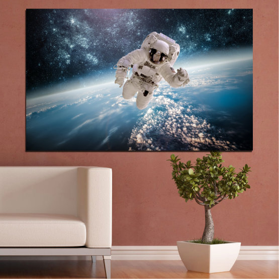 Canvas prints & wall decorative panels - 1 piece №0726 » Black, Gray, Dark grey » Sky, Space, Art, Man Form #1